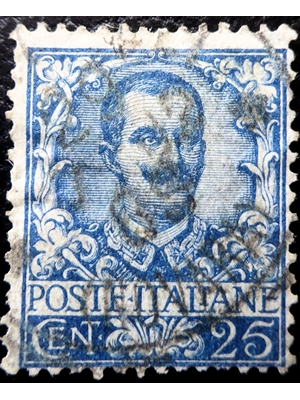 Italy, Victor Emmanuel III, 25 Cents, Blue, 1926 used