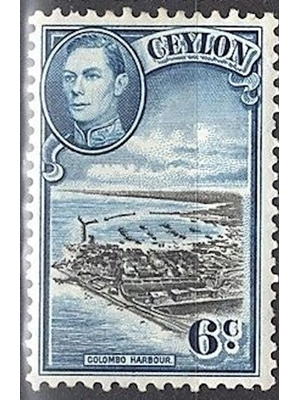 Ceylon, George VI, Colombo Harbour, 6 Cents, Balack and Blue 1938 MINT