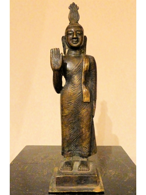 Buddha, wearing full length monastic robes with  right hand in Abhaya mudra, Rare Buddha bronze, Sri Lanka 29 cm high 19th century or earlier, SOLD