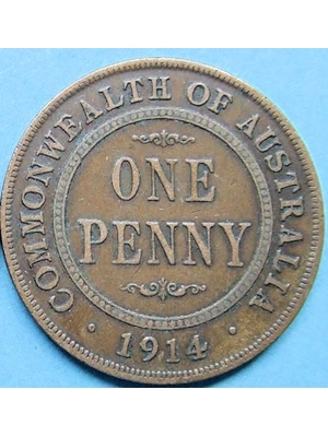 Australia George One Penny 1914 High Grade