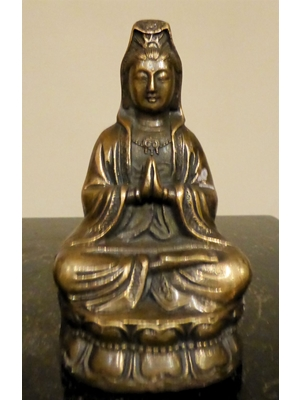 Chinese Shakayamuni (Sage of Sakaya clan) bronze Buddha in Namaskra position, H 4.1  19th century