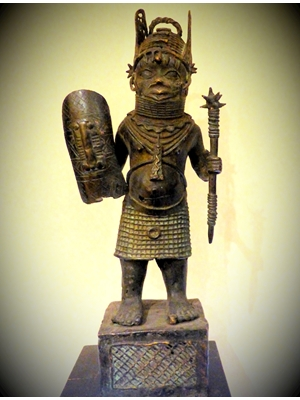 "A Magnificent large Antique Benin bronze of Royal Guard 24"" tall, ca 19th  century,  24 inches tall"