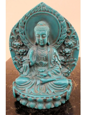 "Turquoise carved Kwan-yin Buddha H 5.5"" 20th century"