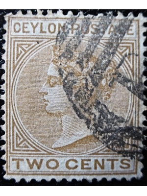 CEYLON 1895 QV 2 Cents, Brown, USED