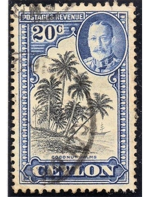 Ceylon King George V 20 c black and grey blue Coconut Palm Trees 1935 used very fine