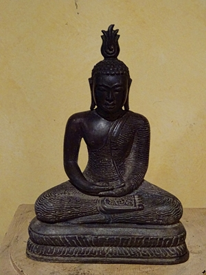 "Buddha, Ceylon (Sri Lanka) with both hands in dhyna mudra posture, hand sculptures bronze, 9"" tall, ca 19th century - 20th century"