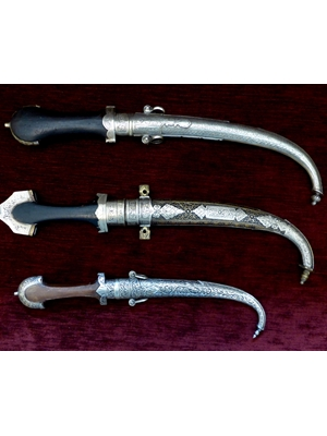 "Arabian Daggers, set on 3, bronze probably silver and other metal, Indo- Persia, 16"" to 19"" long, very good condition, 19th century"