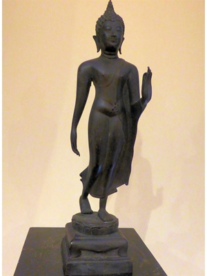 "An unusual rare bronze of standing Ayodhya Buddha in Monastic clothes 17.0 "" high ca 19th -  early 20th century"