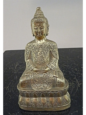 Seated Sino- Tibetan Buddha with Amitbha embossed front , gilded bronze 4.9
