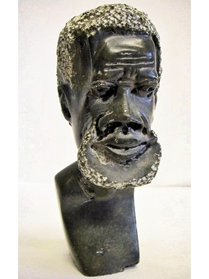 Large Granite stone sculpture of a Western African Tribal man ca mid 20th century H 9.5""