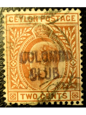 Ceylon Edward VII Two Cents Colombo Club OVPT 1903