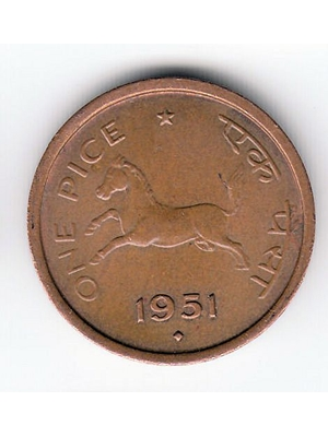 Republic of India, One Pice, copper, Horse 1951