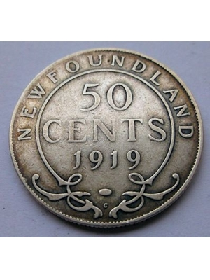 NEWFOUNDLAND GEORGE V 50 CENTS SILVER COIN 1919 VF
