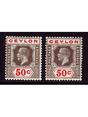 Ceylon, King George V, Set of 2, Postage stamps, 50 cents, 1919 mounted mint
