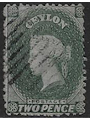 Ceylon, Queen Victoria, Two Pence, Green, 1857, used fine