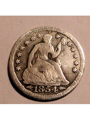 America, Seated Liberty Half Dime .900 Silver 115.5 mm 1854 VF