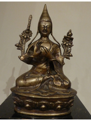 Larger than average Tibetan bronze of Tsongkhapa (13571419) Geluk School, H 12.0""