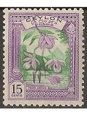 Ceylon, Vesak Orchid in the background of Adam's Peak, 15 Cents 1950 MINT