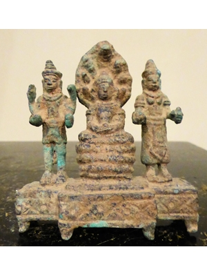 "Khmer Triad, Buddha protected by Naga and Flanked by Vishnu & Lakshmi, Home shrine alter piece, 2.6"" x 2.5"" ,"