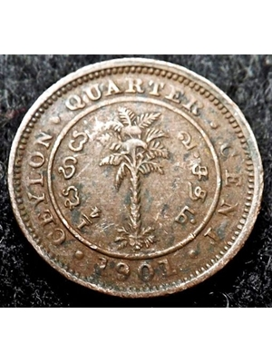 Ceylon, Queen Victoria, 1/4 Quarter Cent, copper, 1901 mintage for the year 216,000