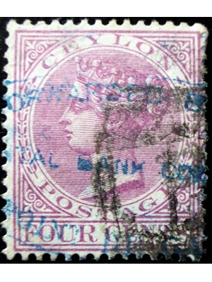 Ceylon Queen Victoria 4 cents rosy mauve 1880 used hinged