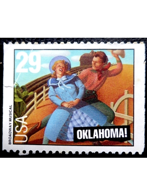 United States, Broadway Musical, Oklahoma, 29 cents, 1993, used postage stamp
