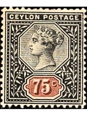 Ceylon, QV, 75 Cents, postage, red and black, postage, 1886 MH