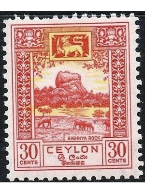 Ceylon Sigiriya Rock Carmine and Yellow 30 cents 1950 MINT