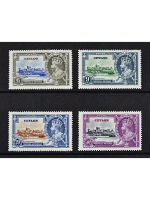 Ceylon, King George V,  House of Windsor, 1935 Silver Jubilee, set of 4 stamps, MM