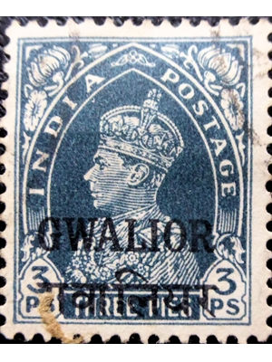 India, KG VI, Gwalior State, 3 pies, 1938